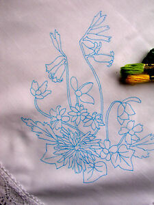 tablecloth to embroider spring flowers with lace edge cotton printed CSOO10
