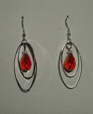 STUNNING DOUBLE OVAL HOOP ORANGE RED FACETED AB GLASS DROP EARRINGS SILVER PLATE