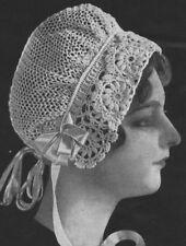 Vintage Visage CROCHET PATTERN - 1900 S très ancien joli Crochet Lace Hat Pattern