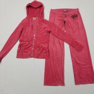 Juicy Couture Track Suit Pink Size Medium Jacket Pants Crown Rhinestone Women's