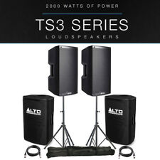 """2x Alto TS315 15"""" 4000W Powered Active PA Speaker DJ Band +Stands +Covers +Leads"""