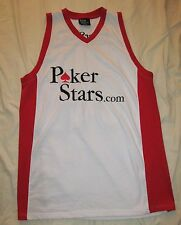 POKERSTARS.COM WSOP Team 2006 White & red quality Embroidered Jersey Tank Top XL