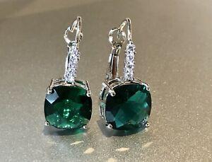 14k White Gold Cushion-Cut Earrings made w/ Swarovski Crystal Teal Green Stone