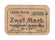 RRR: Swakopmunder Buchhandlung 2 Mark, 1. Auflage (Ro 958) in guter Erhaltung