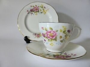 Vintage Duchess Bone China Trio, Pink Floral Tea Cup, Saucer + Cake Plate