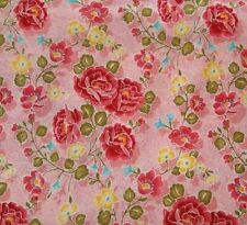 1 yd Cloisonne Unbranded Red Pink Rose Green Yellow Aqua Floral