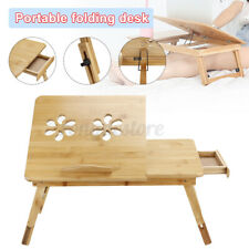 Adjustable Bamboo Laptop Bed Table Stand Computer Desk Sofa Notebook Bed Folding