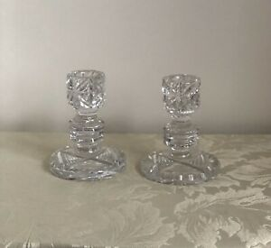 Vintage Pair of Cut Glass Candlesticks - Candle Holders