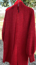 Vintage Monto Par LeChois Red  Long Cardigan Sweater Sz Small Can Fit Larger