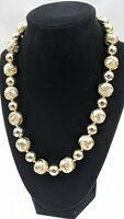 Talbots Metal Gold Tone Bead Necklace Smooth & Textured Round Hand Knotted 18""