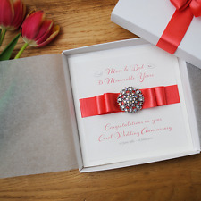 Luxury Coral 35th Wedding Anniversary Personalised Handmade Boxed Card