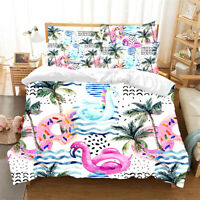 Flamingo Beach Doona Quilt Duvet Cover Set Single/Double/Queen/King Bed Linen