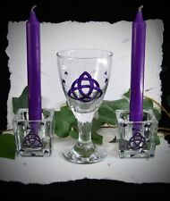 Chalice & Candle Holder  Wicca Pagan Altar Triquetra Yule Gift