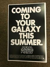 """Star Wars Coming to Your Galaxy this Summer 1977 Promo Poster - 12""""x18"""""""