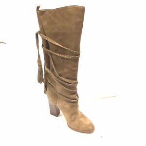 Michael Kors Jessa Camel Suede Tassel Strap Tall Boot Size 10 US (MSRP $998)