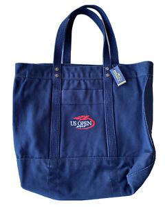 "Polo Ralph Lauren 2017 US OPEN Official Tote Bag 17x15x7"" Navy Blue Canvas"