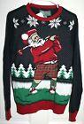 NWT Ugly Christmas Sweater Golfing Santa Men's S Twilight 100% Cotton