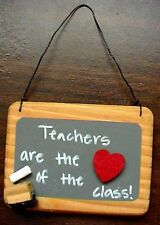 "WOODEN ""TEACHERS ARE THE HEART OF THE CLASS"" CHALKBOARD CHALK ERASER PLAQUE SIGN"