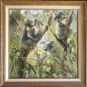 Peter Abraham (1926-2010) Large Original Oil Painting Koalas Mating Season