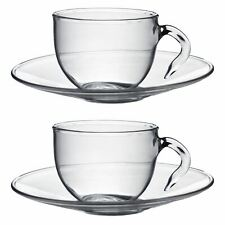 Glass Espresso Coffee Cups Cup & Saucer Serving Set - 60ml x2