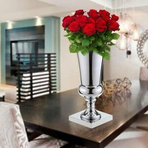 43cm Large Stunning Silver Iron Luxury Flower Vase Urn Wedding Table Centrepiece