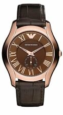 Emporio Armani AR1705 Rose Gold Brown Leather Strap Classic Mens Watch