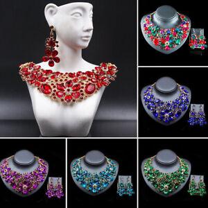 2pcs Women Jewelry Set Rhinestone Choker Necklace Earrings Statement Party Gifts