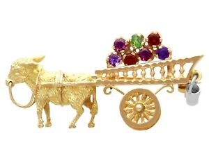 Vintage Amethyst Garnet and Peridot 'Donkey and Cart' Brooch