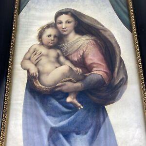 Altes Bild Kunstdruck Die Sixtinische Madonna Maria mit Jesuskind Antik um 1910