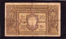 Italian Somaliland 20 Somali 1950 P14a   VG