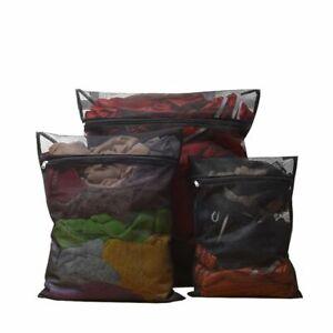 1pc Black Laundry Bag Mesh Net For Underwear Washing Storage Portable Reusable