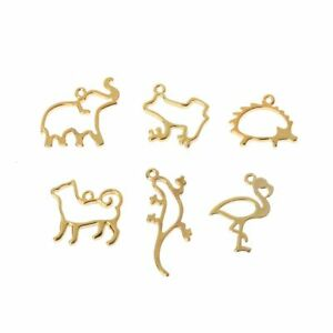 6Pcs Animal Shape Frame Pendant Open Bezel Blank Setting UV Resin Jewelry Gift