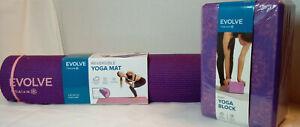 Yoga Mat Berry & Matching Foam Evolve Gaiam Reversible Block Home Fitness NIP