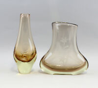 8335017 Two Glass Vases Murano Hand Polished