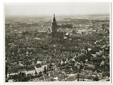 Strasbourg, vue aérienne du quartier de la Cathédrale c. 1935 - Photo vintage