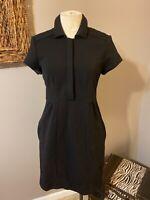 Diane Von Furstenberg Black Short Sleeve Wool Stretch Dress 10