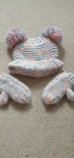 Girl Infant toddler woolly hat & mitten set by NEXT age 3-4 double pom pom