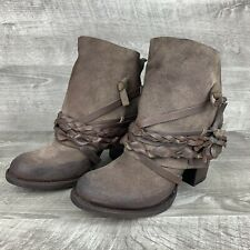 Freebird By Steven CAIRO Ankle Boots Leather Brown Size 7 Boho Festival Fall