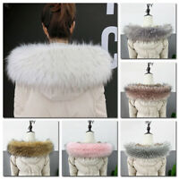 Winter Women Faux Fur Collar For Coat Warm Down Jacket Hood Scarf Shawl Wrap