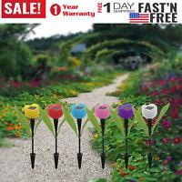 6PC Outdoor Solar Powered Tulip Flower LED Light Yard Garden Lawn Landscape Lamp