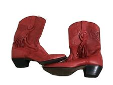 Laredo women's red vintage boots Cuban heel tassel pointed toe size 7.5M