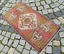 Vintage Turkish Rug 20'' X 37'' Small Anatolian Oushak Wool Pile Yastik Rug
