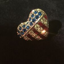 Swarovski-Heart Shaped Patriotic-Red, White & Blue Pin, In Beautiful Condition!