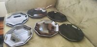 "Arcoroc Octime Salad Plates Black Glass Octagon Octagonal 7 1/2"" Lot of 6"