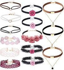 14 PCS Double Layer Lace Velvet Choker Set Necklace Leather Pink Floral Women