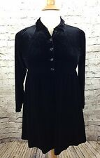 Vtg 90s GAP Womens L Black Velour Baby Doll Top Goth Grunge Empire Poly Stretch