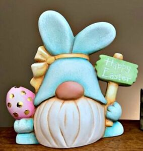 CERAMIC BISQUE EASTER GNOME BUNNY HOLDING SIGN & EGG~ READY TO PAINT