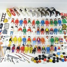 LARGE MIXED LOT VINTAGE PLAYMOBIL PARTS - 49 FIGURES / HORSES / CASTLE / WESTERN