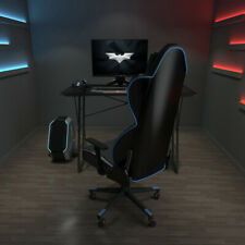 Black Desk Z-Shaped Computer Table w/Blue Led Light Home office Racing Table