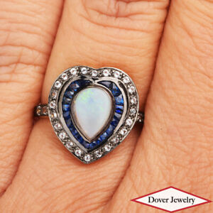 Estate Sapphire Topaz Opal 9K Gold Heart Halo Channel Cocktail Ring NR